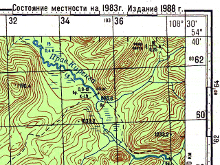 Reduced fragment of topographic map ru--gs--100k--n49-049--N054-40_E108-00--N054-20_E108-30