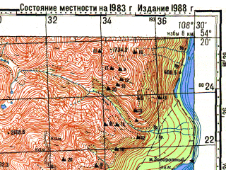 Reduced fragment of topographic map ru--gs--100k--n49-061--N054-20_E108-00--N054-00_E108-30