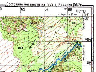 Reduced fragment of topographic map ru--gs--100k--n49-077--N054-00_E110-00--N053-40_E110-30; towns and cities Urzhil