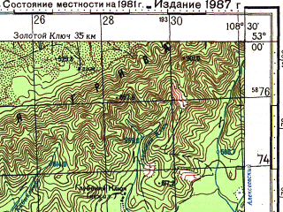 Reduced fragment of topographic map ru--gs--100k--n49-109--N053-00_E108-00--N052-40_E108-30; towns and cities Goryachinsk, Turka