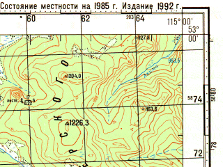 Reduced fragment of topographic map ru--gs--100k--n50-110--N053-00_E114-30--N052-40_E115-00