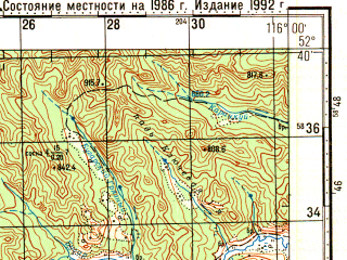 Reduced fragment of topographic map ru--gs--100k--n50-124--N052-40_E115-30--N052-20_E116-00; towns and cities Vershino-darasunskiy