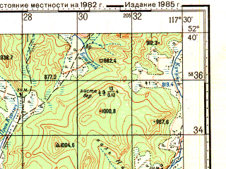 Reduced fragment of topographic map ru--gs--100k--n50-127--N052-40_E117-00--N052-20_E117-30; towns and cities Chernyshevsk, Nikolayevskoye