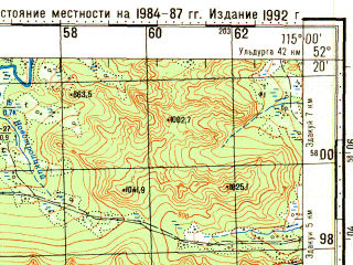 Reduced fragment of topographic map ru--gs--100k--n50-134--N052-20_E114-30--N052-00_E115-00