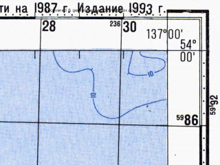 Reduced fragment of topographic map ru--gs--100k--n53-082--N054-00_E136-30--N053-40_E137-00; towns and cities Tugur