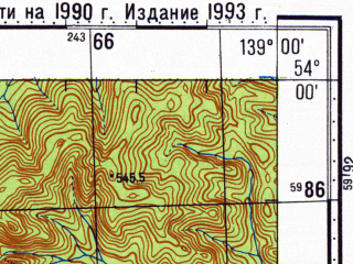 Reduced fragment of topographic map ru--gs--100k--n54-074--N054-00_E138-30--N053-40_E139-00