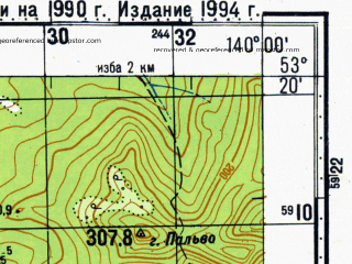 Reduced fragment of topographic map ru--gs--100k--n54-100--N053-20_E139-30--N053-00_E140-00; towns and cities Kakorma, Kheza, Takhta