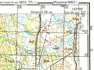 Reduced fragment of topographic map ru--gs--100k--n54-106--N053-20_E142-30--N053-00_E143-00; towns and cities Sabo