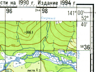 Reduced fragment of topographic map ru--gs--100k--n54-126--N052-40_E140-30--N052-20_E141-00; towns and cities Bogorodskoye
