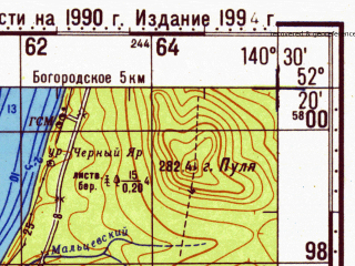 Reduced fragment of topographic map ru--gs--100k--n54-137--N052-20_E140-00--N052-00_E140-30; towns and cities Solontsy, Dudi