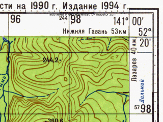 Reduced fragment of topographic map ru--gs--100k--n54-138--N052-20_E140-30--N052-00_E141-00