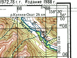 Reduced fragment of topographic map ru--gs--100k--n57-005--(1988)--N056-00_E158-00--N055-40_E158-30