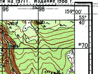 Reduced fragment of topographic map ru--gs--100k--n57-018--(1971)--N055-40_E158-30--N055-20_E159-00