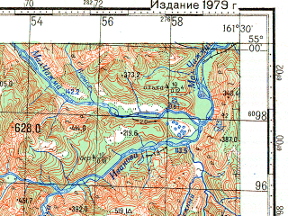 Reduced fragment of topographic map ru--gs--100k--n57-047--N055-00_E161-00--N054-40_E161-30
