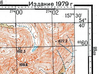 Reduced fragment of topographic map ru--gs--100k--n57-051--(1968)--N054-40_E157-00--N054-20_E157-30