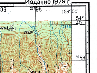 Reduced fragment of topographic map ru--gs--100k--n57-054--(1966)--N054-40_E158-30--N054-20_E159-00