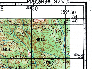 Reduced fragment of topographic map ru--gs--100k--n57-055--(1967)--N054-40_E159-00--N054-20_E159-30