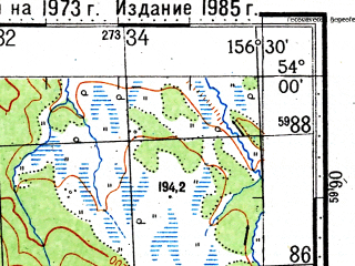 Reduced fragment of topographic map ru--gs--100k--n57-073--(1973)--N054-00_E156-00--N053-40_E156-30