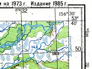 Reduced fragment of topographic map ru--gs--100k--n57-085--(1973)--N053-40_E156-00--N053-20_E156-30; towns and cities Kikhchik