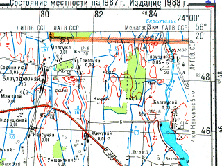 Reduced fragment of topographic map ru--gs--100k--o34-144--N056-20_E023-30--N056-00_E024-00; towns and cities Linkuva, Zeimelis
