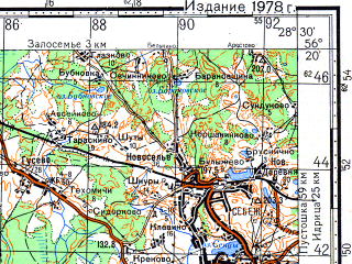 Reduced fragment of topographic map ru--gs--100k--o35-141--(1978)--N056-20_E028-00--N056-00_E028-30; towns and cities Sebezh