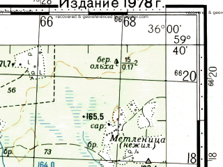Reduced fragment of topographic map ru--gs--100k--o36-024--(1972)--N059-40_E035-30--N059-20_E036-00; towns and cities Babayevo, Toropovo