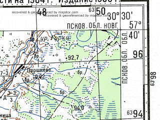 Reduced fragment of topographic map ru--gs--100k--o36-085--(1984)--N057-40_E030-00--N057-20_E030-30; towns and cities Sosnitsy, Yasski