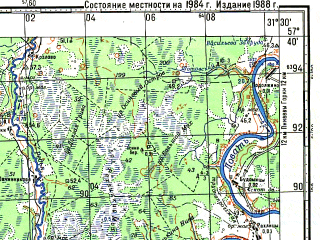 Reduced fragment of topographic map ru--gs--100k--o36-087--N057-40_E031-00--N057-20_E031-30; towns and cities Gubino