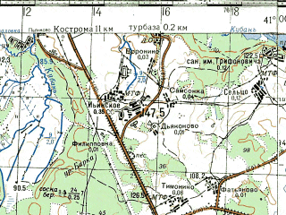 Reduced fragment of topographic map ru--gs--100k--o37-094--N057-40_E040-30--N057-20_E041-00; towns and cities Nerekhta, Kosmynino, Likhobrazovo