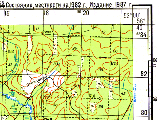 Reduced fragment of topographic map ru--gs--100k--o39-130--N056-40_E052-30--N056-20_E053-00; towns and cities Bobya-ucha