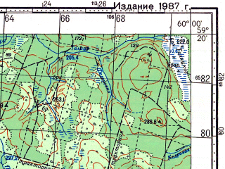Reduced fragment of topographic map ru--gs--100k--o40-036--N059-20_E059-30--N059-00_E060-00; towns and cities Nyasma