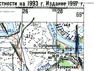 Reduced fragment of topographic map ru--gs--100k--o42-079--(1997)--N058-00_E069-00--N057-40_E069-30; towns and cities Vagay, Slepyshikha