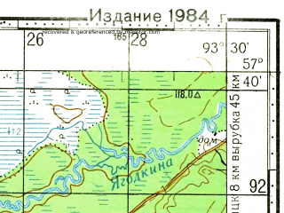 Reduced fragment of topographic map ru--gs--100k--o46-091--N057-40_E093-00--N057-20_E093-30; towns and cities Mokrushinskoye