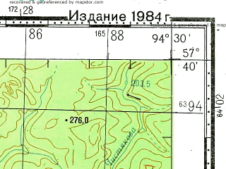 Reduced fragment of topographic map ru--gs--100k--o46-093--N057-40_E094-00--N057-20_E094-30