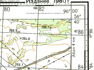 Reduced fragment of topographic map ru--gs--100k--o46-132--N056-40_E095-30--N056-20_E096-00; towns and cities Berezovka