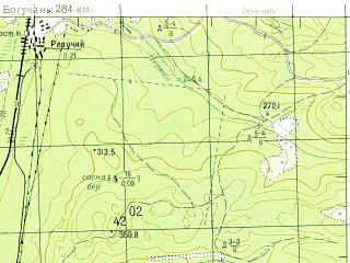 Reduced fragment of topographic map ru--gs--100k--o47-135--N056-20_E097-00--N056-00_E097-30; towns and cities Nizhnyaya Poyma