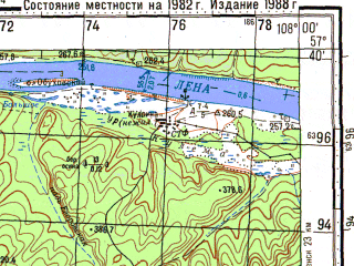 Reduced fragment of topographic map ru--gs--100k--o48-096--N057-40_E107-30--N057-20_E108-00; towns and cities Lazareva, Makarovo, Polovinka