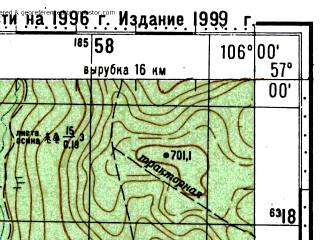 Reduced fragment of topographic map ru--gs--100k--o48-116--(1996)--N057-00_E105-30--N056-40_E106-00; towns and cities Ust'-kut, Turuka