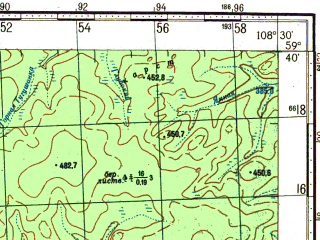 Reduced fragment of topographic map ru--gs--100k--o49-013--N059-40_E108-00--N059-20_E108-30