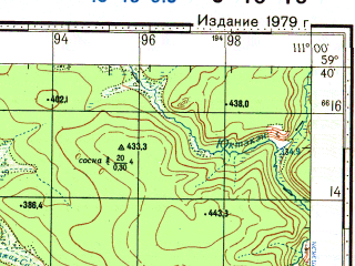 Reduced fragment of topographic map ru--gs--100k--o49-018--N059-40_E110-30--N059-20_E111-00
