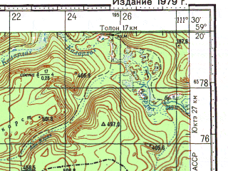 Reduced fragment of topographic map ru--gs--100k--o49-031--N059-20_E111-00--N059-00_E111-30