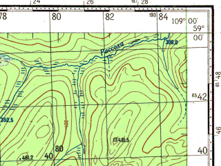 Reduced fragment of topographic map ru--gs--100k--o49-038--N059-00_E108-30--N058-40_E109-00