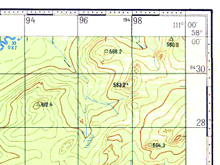 Reduced fragment of topographic map ru--gs--100k--o49-078--N058-00_E110-30--N057-40_E111-00