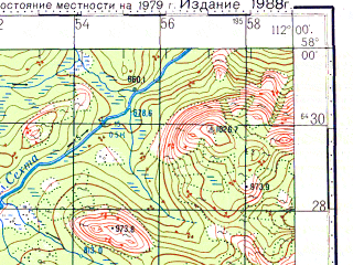 Reduced fragment of topographic map ru--gs--100k--o49-080--N058-00_E111-30--N057-40_E112-00