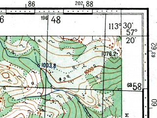 Reduced fragment of topographic map ru--gs--100k--o49-107--(1966)--N057-20_E113-00--N057-00_E113-30