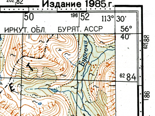 Reduced fragment of topographic map ru--gs--100k--o49-131--(1982)--N056-40_E113-00--N056-20_E113-30