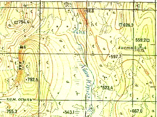 Reduced fragment of topographic map ru--gs--100k--o50-032--N059-20_E117-30--N059-00_E118-00