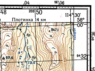 Reduced fragment of topographic map ru--gs--100k--o50-073--(1963)--N058-00_E114-00--N057-40_E114-30; towns and cities Bodaybo, Mamakan