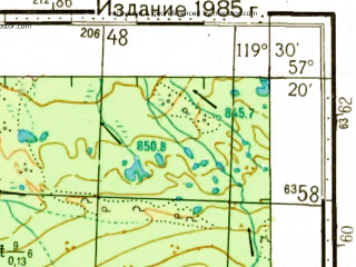 Reduced fragment of topographic map ru--gs--100k--o50-107--N057-20_E119-00--N057-00_E119-30