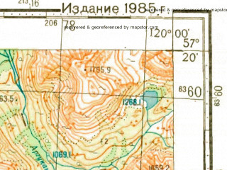 Reduced fragment of topographic map ru--gs--100k--o50-108--N057-20_E119-30--N057-00_E120-00